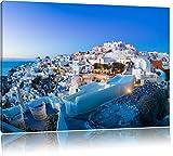 village d'Oia au coucher du soleil Santorin, format: 100x70 sur toile, XXL énormes Photos complètement encadrées avec civière, impression d'art sur murale avec cadre, moins cher que la peinture ou une peinture à l'huile, pas une affiche ou une bannière,
