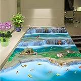 BZDHWWH Kostenloser Versand Karpfen Fisch Springen Drangon Tür Landschaft 3D Bodenbelag Malerei Selbstklebende Rutschfeste Tragen Boden Tapete Mural,200Cm X 300Cm