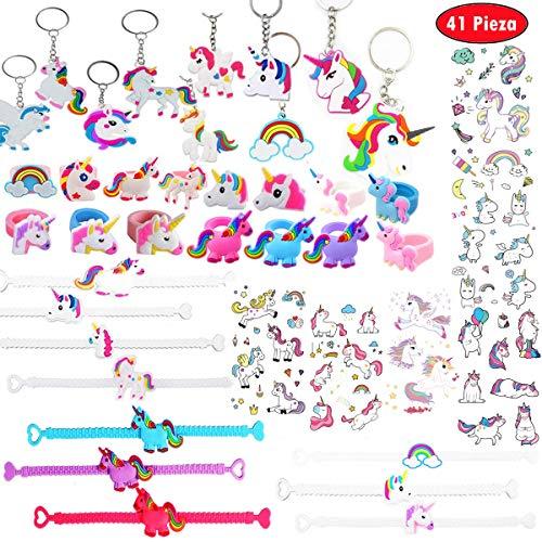Clerfy Acc 41 PCS Unicornio Cumpleaños - Unicornio Pulsera, Unicornio Anillo, Unicornio Tatuajes temporales, Niños Niñas Regalos para Cumpleaños Infantiles.