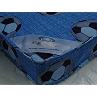 MR SLEEPS BEDS LIMITED 3FT SINGLE BLUE FOOTBALL ECONOMY BUDGET MATTRESS WIDTH 3FT (90cm) - LENGTH 6FT3 (190cm) (approx size)