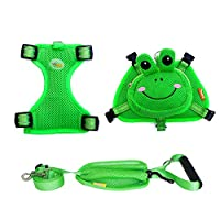 ZUOQUAN LCBN® Dog Backpack Adjustable Saddle Frog Two-Piece Chest Backpack Outdoor Dog Bag Pet Strap Towing Small And Medium Dogs Walking Training Green,M
