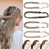 Briads Extensions Haar geflochtene Haarverlängerung Stirnband klassische klobige breite geflochtene Zöpfe elastische Stretch Haarteil Frauen Mädchen Beauty-Accessoire Aschbraun
