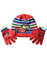 Boys Disney Pixars Cars knitted beanie hat and gloves set 3-8 years red (clothes)