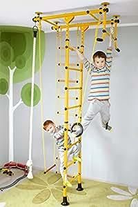 """Barre da muro Struttura per arrampicarsi a parete, Attrezzatura sportiva per bambini """"FitTop M1"""" - giallo"""