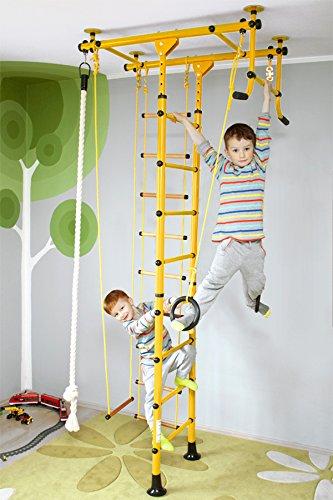 NiroSport FitTop M1 Indoor Klettergerüst für Kinder Sprossenwand für Kinderzimmer Turnwand Kletterwand, TÜV geprüft, kinderleichte Montage, max. Belastung bis ca. 130 kg (Gelb)