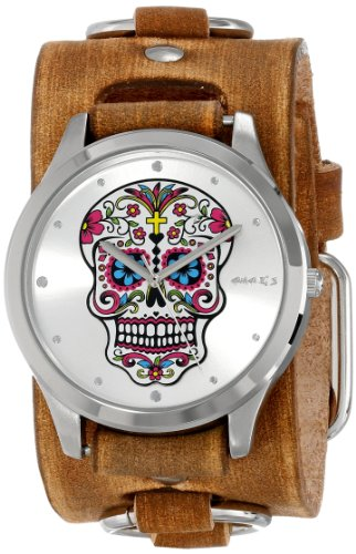 Nemesis Women's BFRB925S Punk Rock Collection Silver Sugar Skull Leather Cuff Band Watch