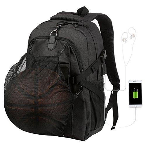 Vbiger Sac à Dos de Basketball pour Hommes Sac à Dos de Sport Sac à Dos pour Ordinateur Portable à usages Multiples Sac à Dos USB Fonction et câble Audio pour Ordinateur Portable 15,6'