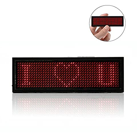 LED Programmable Scrolling Name Tag Badge-Red Message Display Board Digital Moving Sign USB Rechargeable ID Tag for Restaurant Shop Exhibition Nightclub