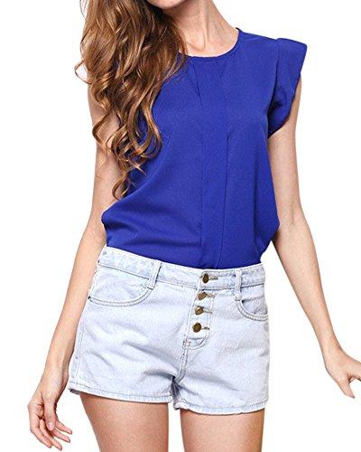 Femmes Haut Casual Lâche En Mousseline De Soie Court Manches Blouse Shirt Tops Saphir bleu