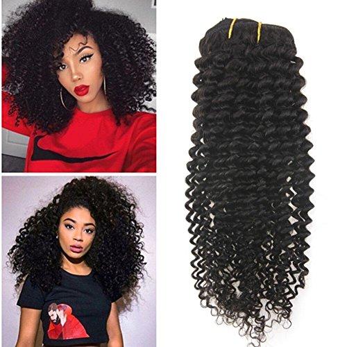 "Ugea Komplette Kopf Kinky Curly Clip in Extensiones Haar 24""/60cm Brasilianisch Remy Echthaar Tressen mit Clip on 7pcs 120Gramm/set"