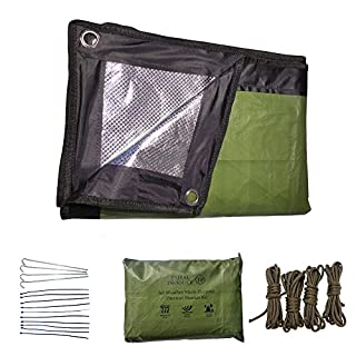 New Launch Discount for 2017: All Weather Multi-Purpose Reusable Emergency Thermal Blanket Kit (Olive Green) - Comes with Large Aluminium Reflective Blanket, Four Steel Pegs, Four Lengths of Paracord and a Ziplock Waterproof Pouch - Ideal for Camping, Picnic Blanket or Car Boot