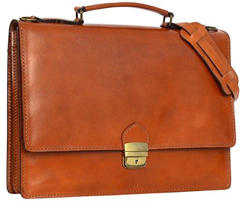 Preisvergleich Produktbild Gusti Leder Studio Aktentasche aus Leder ''Nicholas'' Laptoptasche Unisex Cognac 2B3-94-2