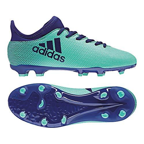 adidas Kinder X 17.3FG J Ground Stollen Fußball Stiefel 28–Fußballschuh (Hartböden, Kind, Unisex, Sohle mit Dübel, Blau, Grün, Einfarbig)
