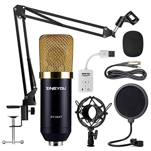 ZINGYOU Kondensator Mikrofon Bundle, ZY-007 Professional Cardioid Studio Kondensator Mikrofon und Adjustable Suspension Scissor Arm Stand mit Shock Mount, Pop Filter für Aufzeichnung & Broadcasting