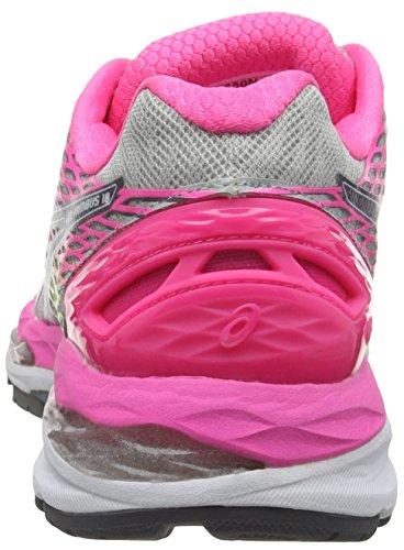 Asics Gel-Nimbus 18, Chaussures de Running Compétition Femme Gris (silver/titanium/hot pink 9397)