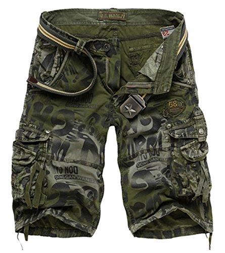 Panegy - Pantalones Cortos de Trabajo Camuflaje Deportivos Vintage para Hombre con Un Cinturón - Color Verde Militar - ES Talla 36