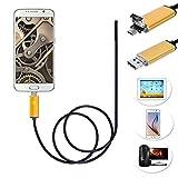 Hinmay USB endoscope Caméra d'inspection, 6LED câble de sécurité Flexible étanche endoscope avec caméra endoscope USB/Micro USB pour téléphone Android, smartphone, Sony, Nexus, ordinateur portable, doré, 2 m