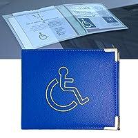 Disabled Badge Holder PU Leather with Metal Corner Hologram Safe Parking Permit Display 16.5 x 13.5 cm - Blue