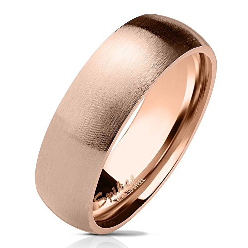 Bungsa 57 (18.1) rosegoldener Ring für Damen & Herren - Rosé Rosegold - Damenring aus Edelstahl matt - Edler Edelstahlring geeignet ALS Verlobungsringe, Freundschaftsringe & Partnerringe