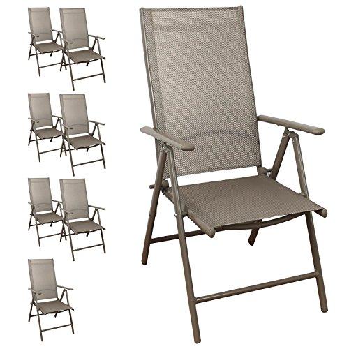 8 Stück Aluminium Hochlehner, Textilenbespannung, 7 Fach Verstellbar,  Klappbar, Champagner Gartenstuhl Positionsstuhl Klappstuhl Günstig