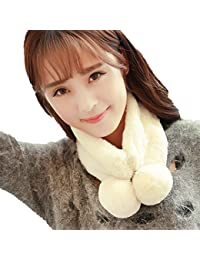 ZeHui Women Fashion Warm Faux Fur Neck Collar Scarf Winter Cute Thick Scarf beige