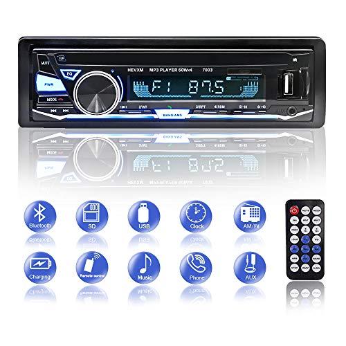 Autoradio Bluetooth, BETECK Radio Coche Bluetooth Reproductor de Mp3, USB/SD/AUX/FM/WMA/Reproductor de MP3 Audio con Control Remoto Inalámbrico (001)