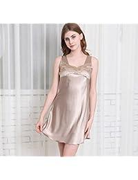 LJ&L Mangas suelta yardas grandes pijamas / sección delgada falda de baño de verano camisón de seda / hilado Sra V-cuello,light tan,XXL