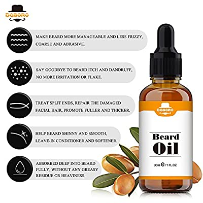 Beard Gorwth Oil for Men - All Natural Unscented Beard Care kit for Mustache & Goatee, Leave in Conditioner Softener Facial Hair Care Product for Fuller and Thicker Beard 1 Fl Oz 30ml by BOER