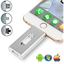 32 GB USB Flash Drive iPhone – USB, Micr USB e connettore Lightning (3 in 1) per iPhone iPad iOS Andriod e pc-silver argento sliver 32 go