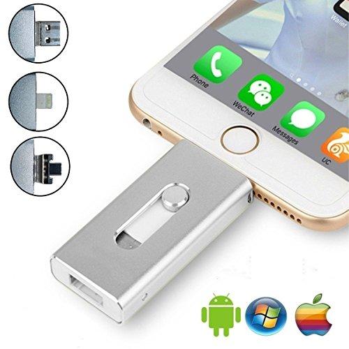 32GB USB iPhone Flash Drive–USB, MICR USB und Lightning-Anschluss (3in 1) für iPhone iPad iOS Android und pc-silver Silber silberfarben 32 gb Series-usb-flash-laufwerk