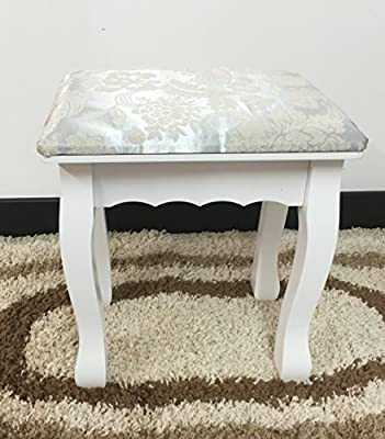 Dressing Table Stool Padded Make Up Stand Piano Seat Shabby Chic Vintage Retro