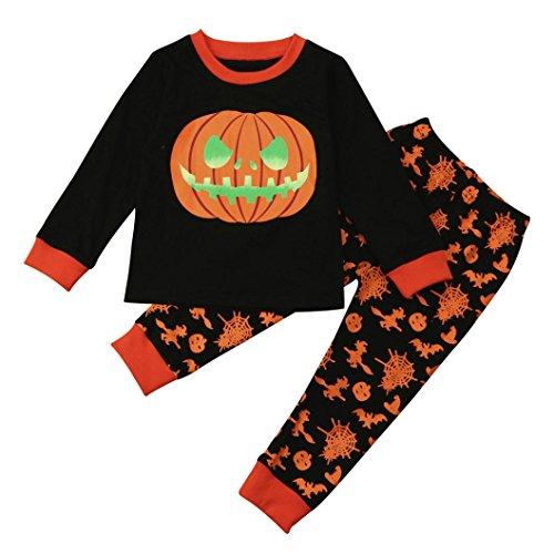 Xiahbong Niño pequeño bebé niña calabaza Tops + pantalones Halloween Kid outfits set (4 años, Negro)