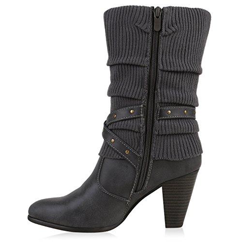 Klassische Stiefeletten Damen Stulpen Strass Stiefel Grau Grau