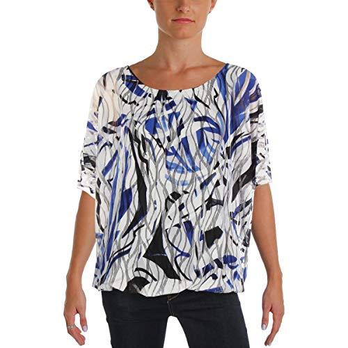 Alfani Womens Printed Dolman Sleeves Dress Top Blue L -