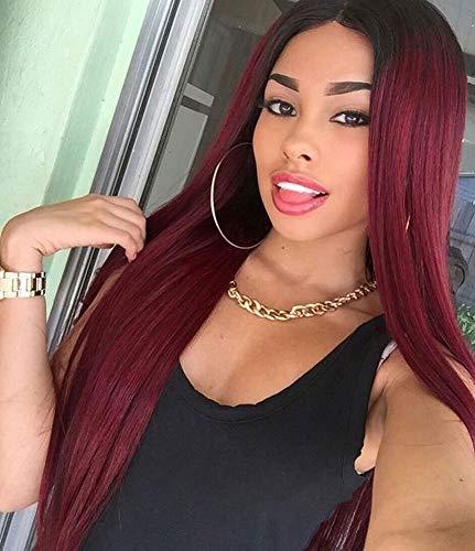 LYYJF Rote Lang Gerade Haar Ombre Perücke für Damen Mittelteil Synthetische Perücke Hitzebeständige Faser Natürliche Cosplay Täglicher Frisur