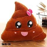 CALISTOUK - Simpatico peluche stile emoji a forma di cacca, cuscino decorativo per letto, divano, auto Smile 06
