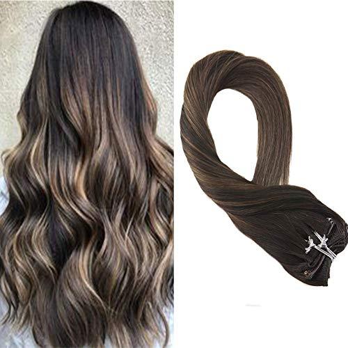 Moresoo 22 Zoll/55cm Ombre Farben Echthaar Clip in Extensions Für Komplette Kopf Schwarz #2 Darkest Brown to #6 Medium Brown Haarverlängerung Balayage Haarfarbe 7 Tressen 120g
