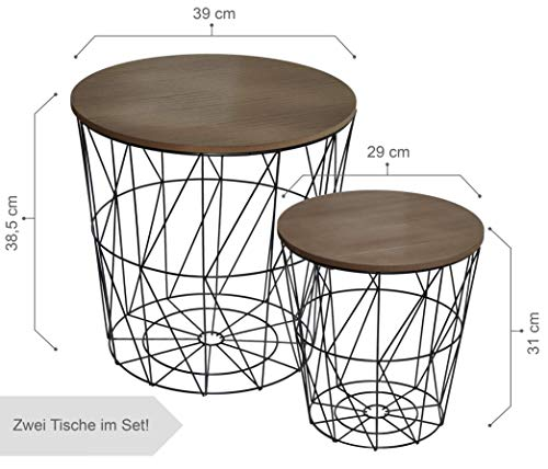 CALUTEA Moderne Beistelltische Rund / 2er Set/Drahtkorb/Metall Schwarz/Holz Design Braun - Natürliche Schwarze Beistelltisch