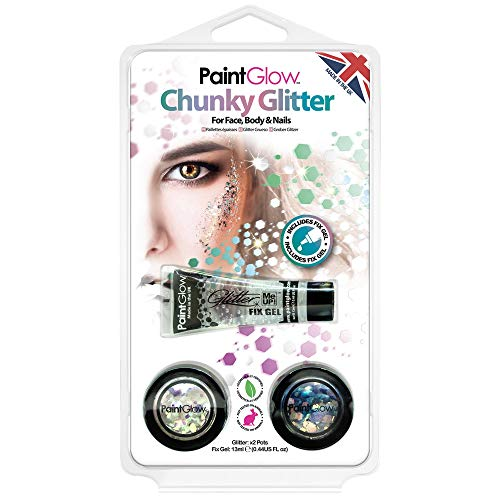 (HP17) Pack 2: Chunky Glitter (Glow In The Dark Neon Face Paint)