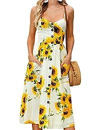 324d19ee69db34 iShine A-Linie Kleid Damen Ärmellos Spaghetti Kleid Sommerkleid Kurz Maxikleid  Strandkleid mit Blumenmuster Partykleid
