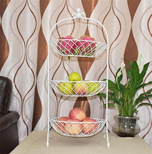 Obst Platte, drei Schichten von Obst Korb, Wohnzimmer kreative Mode Obst Töpfe, Metall, Lagerung Lagerung Obst und Gemüse Multi-Layer-Kuchen Rack , white
