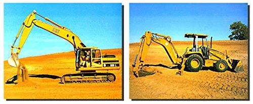 Wandschmuck Kunstdruck Bild Caterpillar Bagger Bulldozer Zwei Set Truck Poster (8x 10)