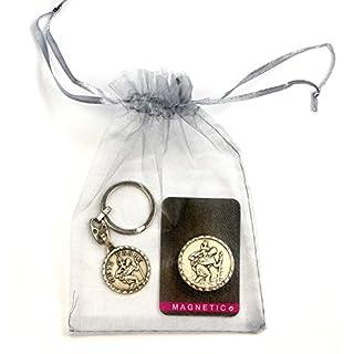 n.b. Magnet Plakette & Schlüsselanhänger, der heilige Christophorus, Geschenkset im silbernen Organzabeutelchen