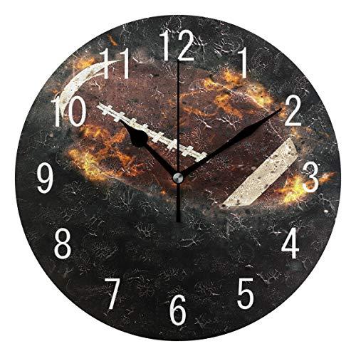 Use7 Home Decor American Football Sport Artwork Runde Acryl Wanduhr Nicht tickend leise Uhr Kunst für Wohnzimmer Küche Schlafzimmer