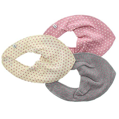 Pippi 3er Pack Baby Mädchen Halstuch mit Aufdruck, Farbe: Rosa und Grau, One Size, 3716