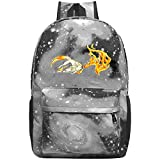 dsgsd Schultasche Mysterious Flame Wolf Casual Large-Capacity Star Backpack Unisex Travel Bag Blue