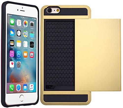 Apple iPhone 5C - Double Couche Slim Armure Hybrid Rigide Housse Étui avec Crédit Carte Support + Gratuit Écran Protection - Vert Or