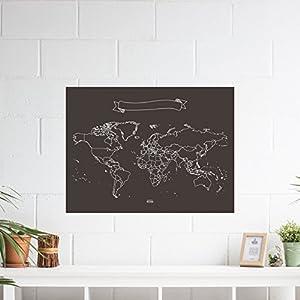 Miss Wood Chalkboard XL Mapa de Pizarra, Vinilo, Negro y Blanco, 90 x 60 x 0.1 cm