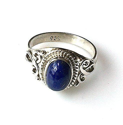 Shanya Ring Ethnic Sterling Silber Lapis Lazuli, aus massivem Silber und echtem Lapislazuli, jeder Ring ist individuell handgefertigt. Die Stein Größe ist 6x 8mm Design lhcll. UK Größe.