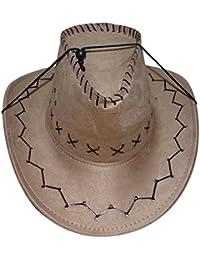 Cowboy Cowgirl hat - SODIAL(R) Retro Unisex Denim Wild West Cowboy Cowgirl Rodeo Fancy Dress Accessory Hats khaki